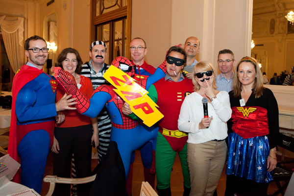Delegates in superhero custome